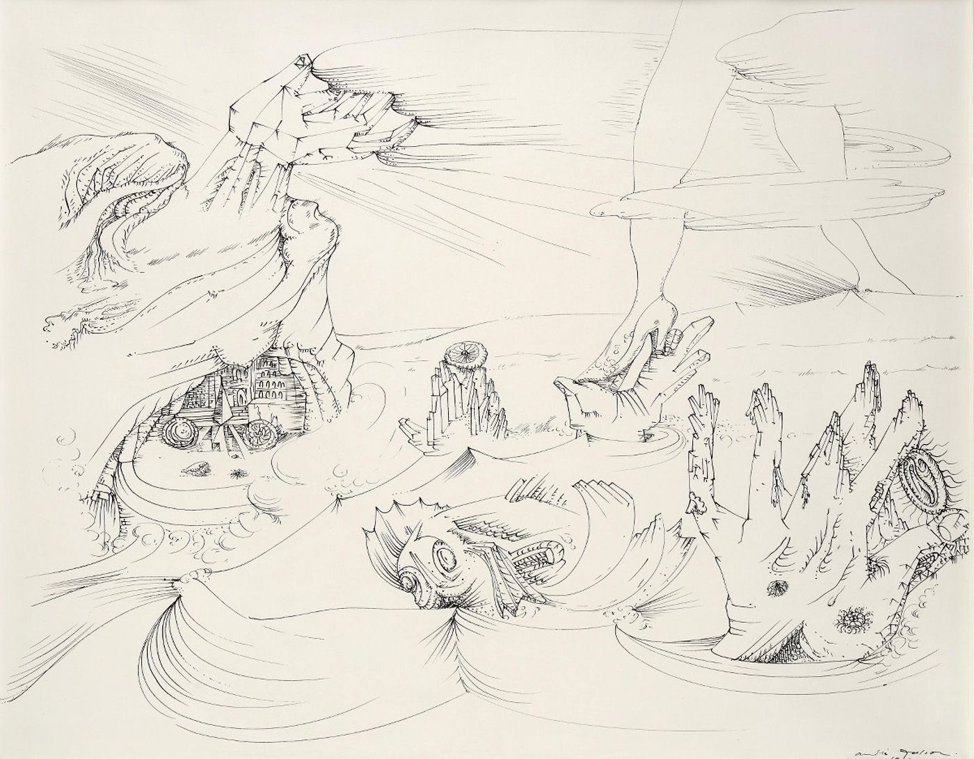 "André Masson, ""La mer se retire"" (""The Sea Withdraws,"" 1941) (all images courtesy Galerie Natalie Seroussi)"