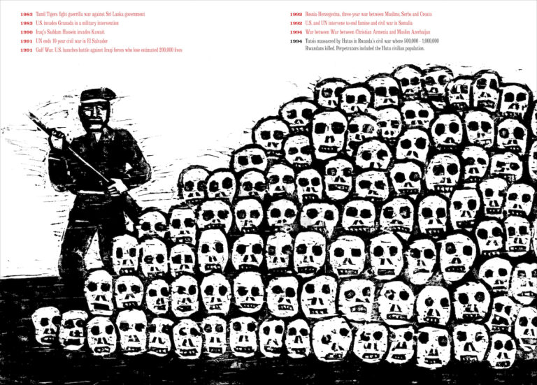 Illustration of the 1994 Rwandan Civil War from 'Seymour Chwast at War with War: An Illustrated Timeline of 5000 Years of Conquests, Invasions, and Terrorist Attacks' (© Seymour Chwast)