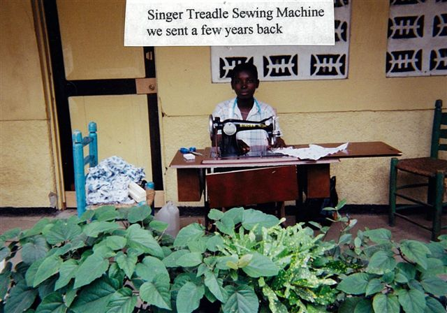 This is one of the treadle sewing machines that was sent to Hinche several years ago.