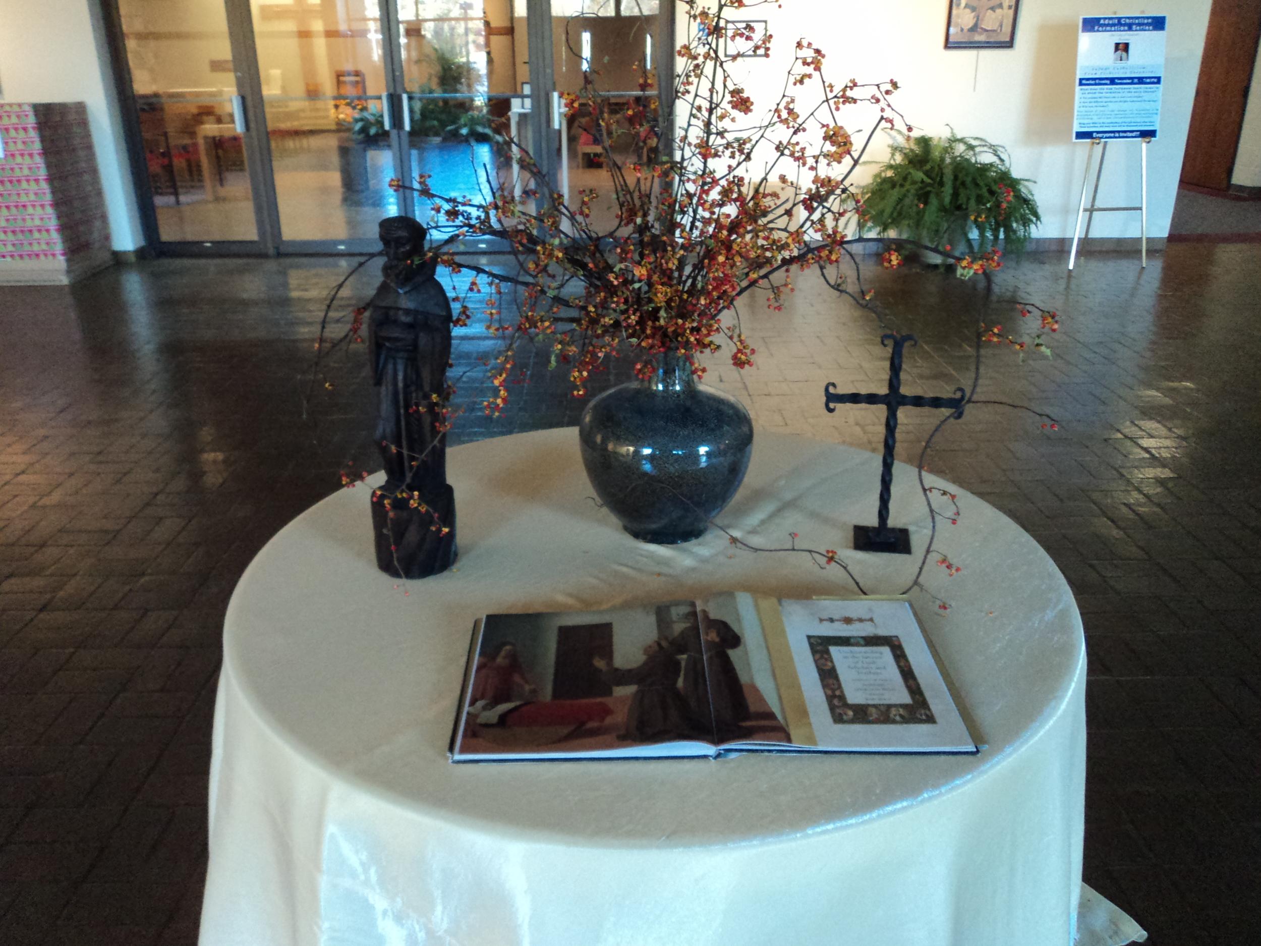 Saints floral table 1.JPG