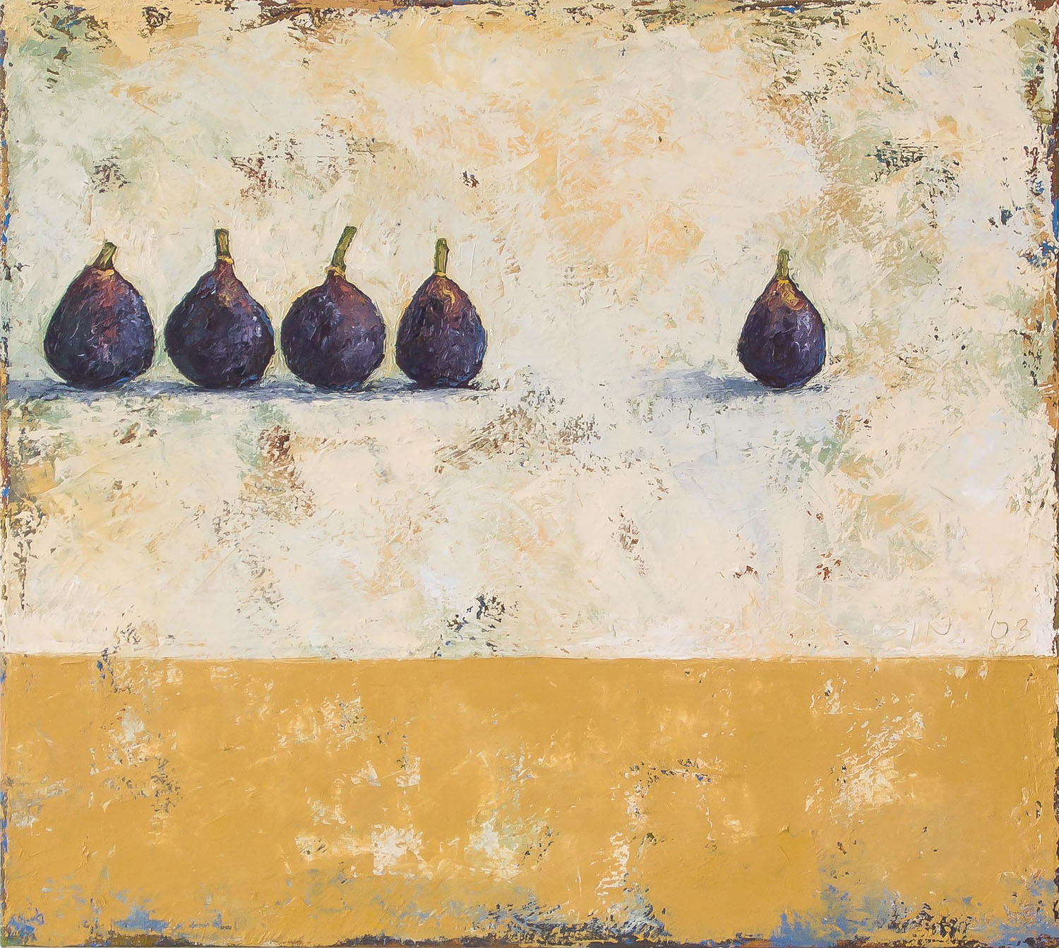Figs in a Row  2003 oil on panel 18 x 20 inches  Private collection