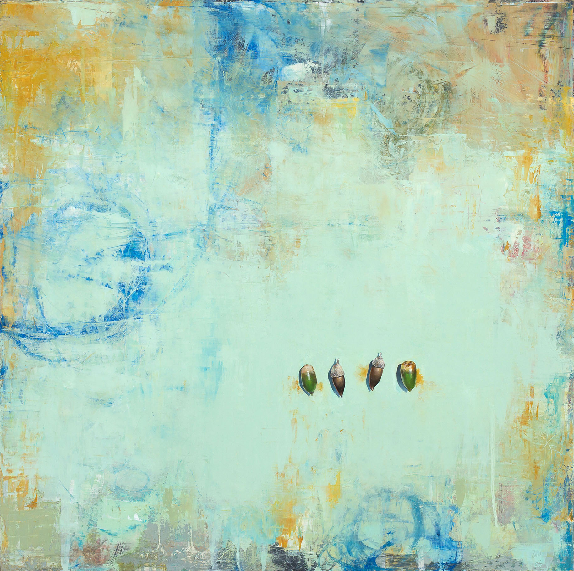 Four Acorns  2018 oil on panel 24 x 24 inches  Available at  The Haen Gallery
