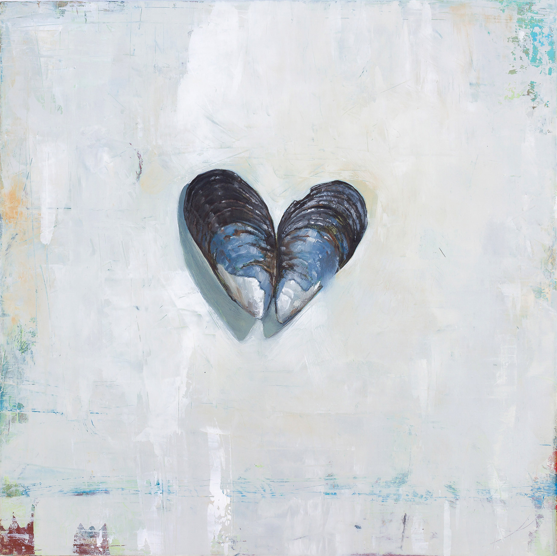 The Heart is a Mussel  2018 oil on panel 10 x 10 inches   Sold