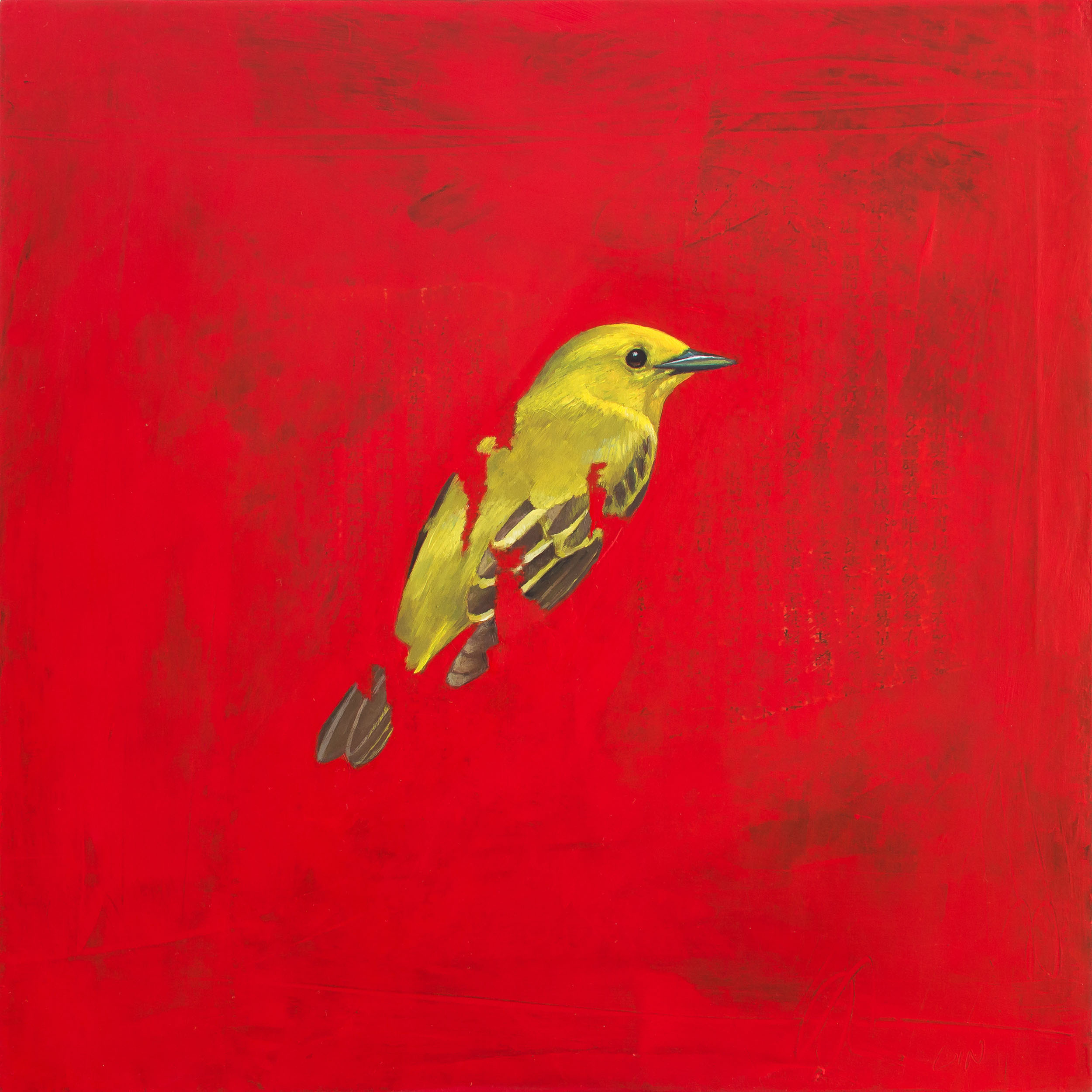 Yellow Warbler  2019 oil and collage on panel 10 x 10 inches   Sold