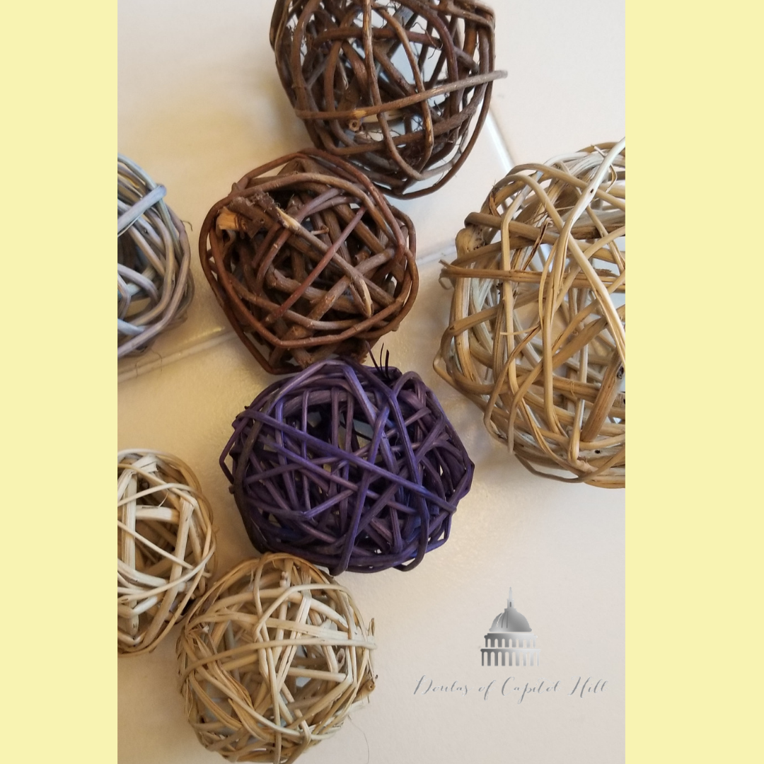 "These grapevine balls be found at many craft stores and often at the thrift store, if you're looking to reduce your ""footprint."""
