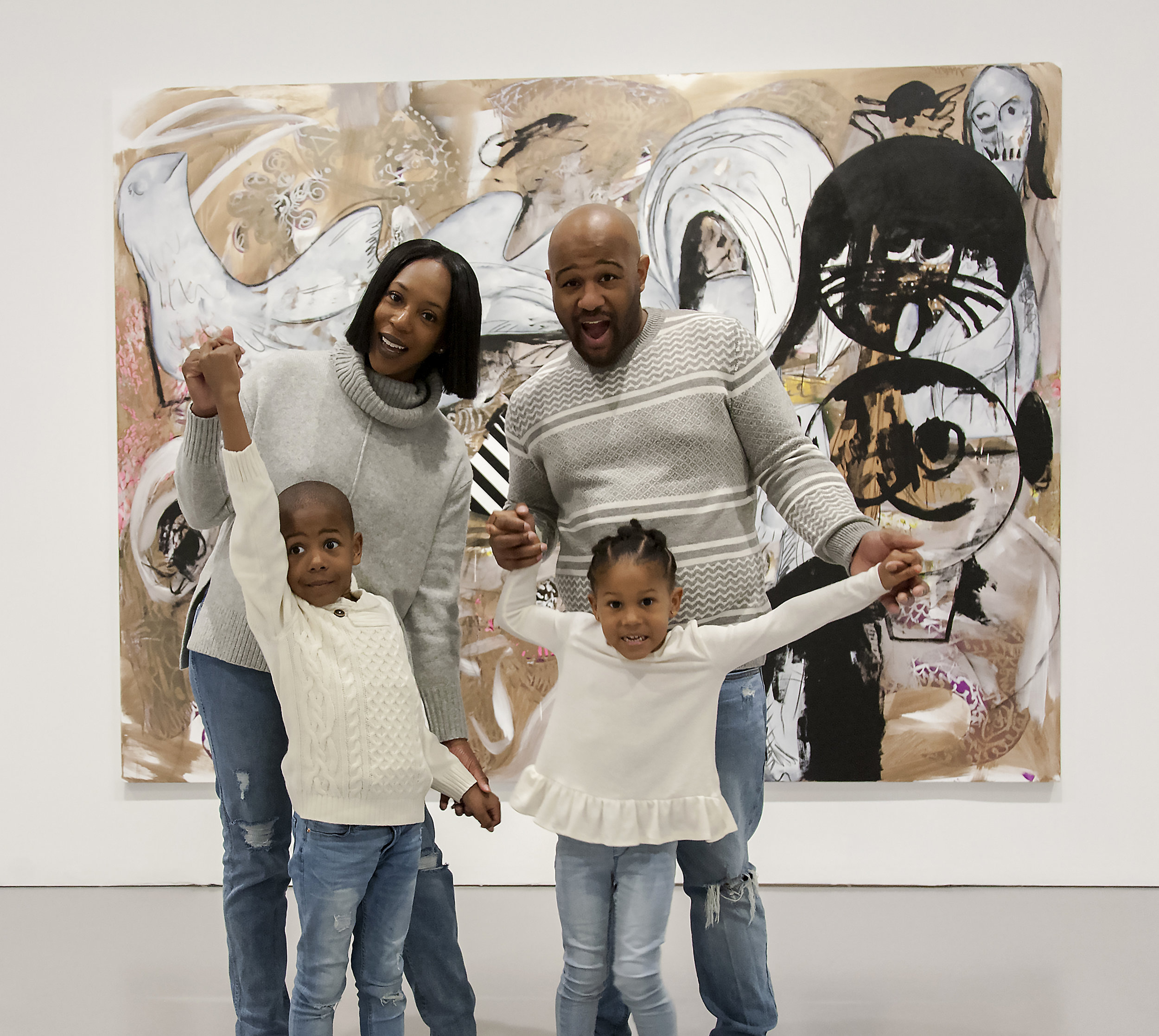 Doula Jacquelin Knighton with her family at the Hirshhorn Museum and Sculpture Garden