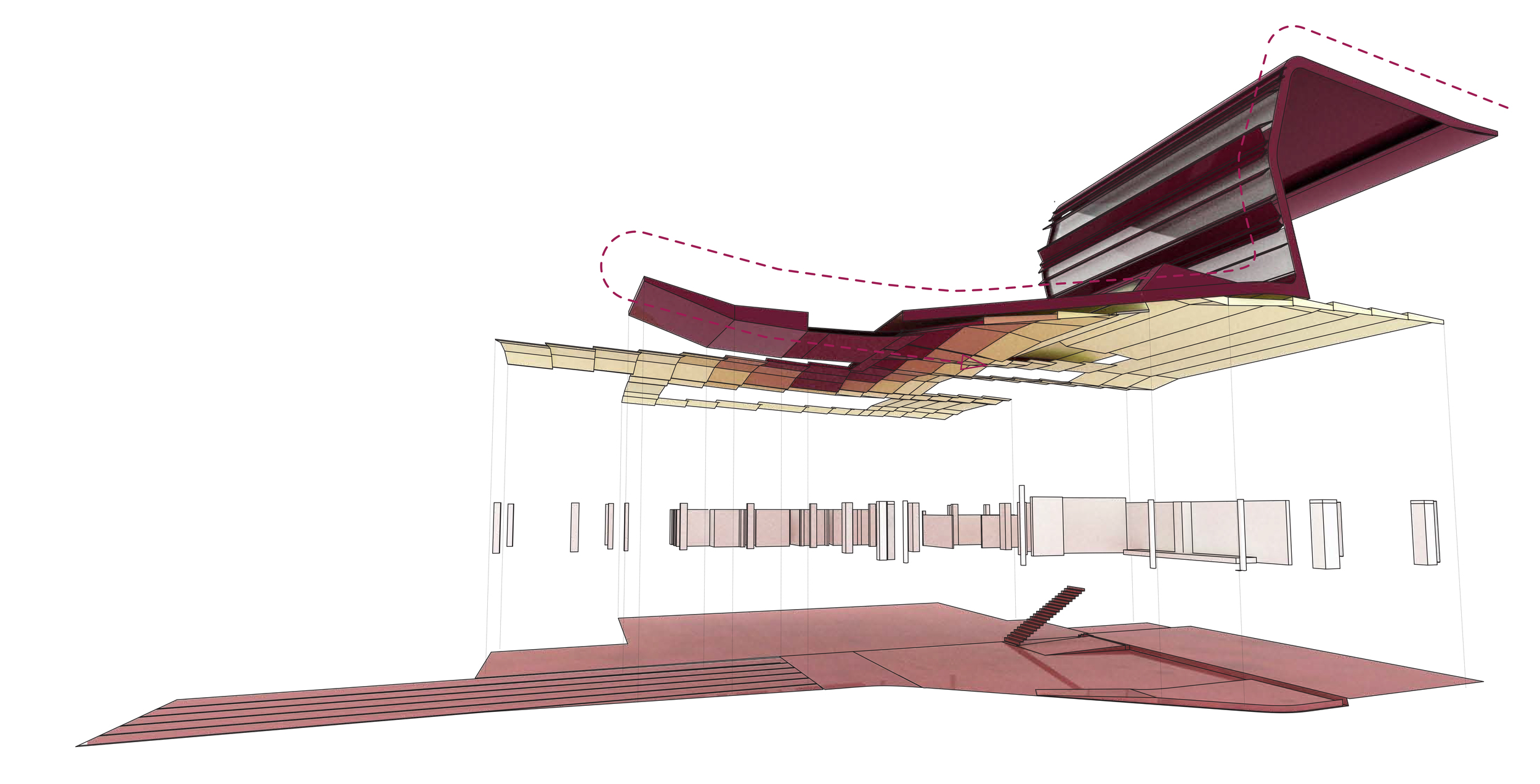 Exploded view of the ceiling, walls and floor