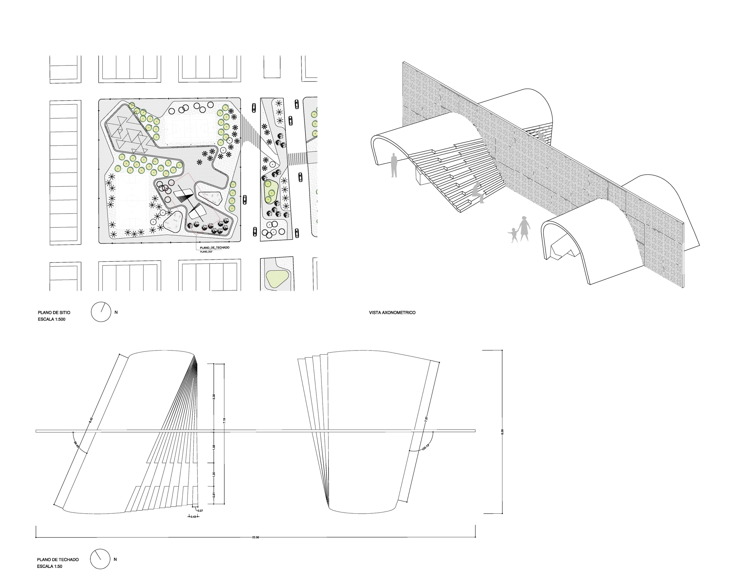 Site plan and axonometric view