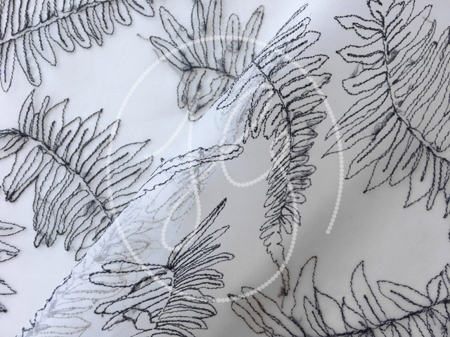 FERNS  Monochromatic, soft linear interpretation of sketches with viscose thread.