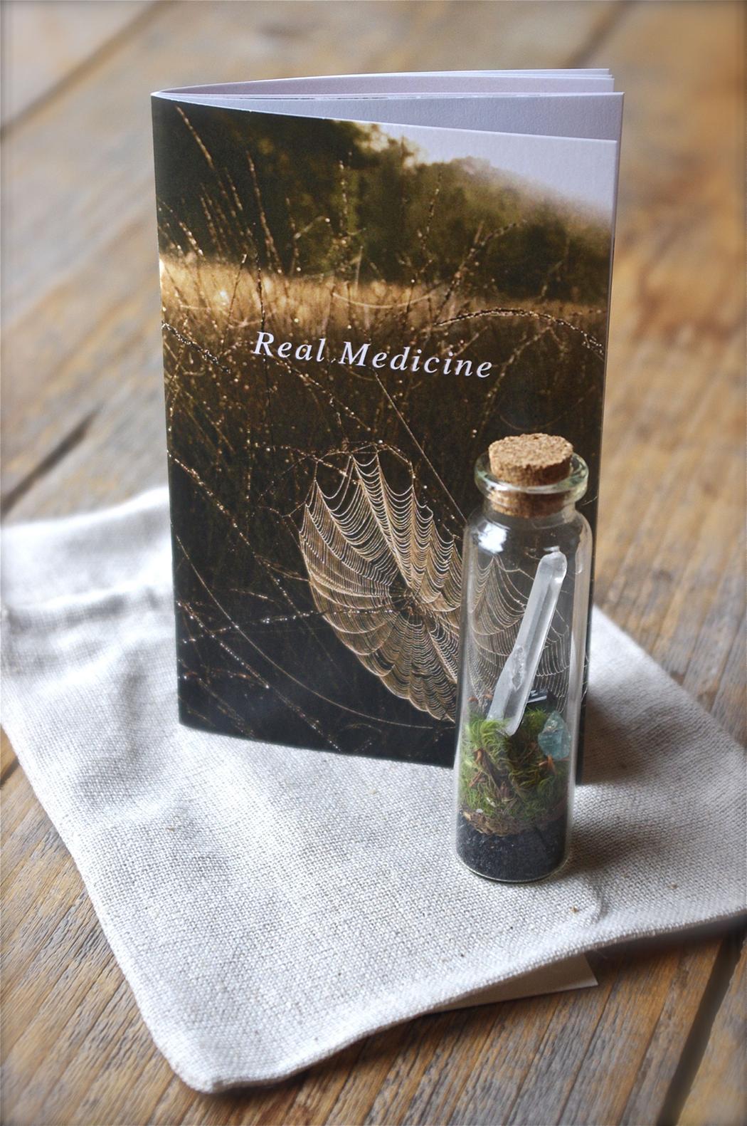 Gift Sets include your chosen booklet, token terrarium, & linen pouch.