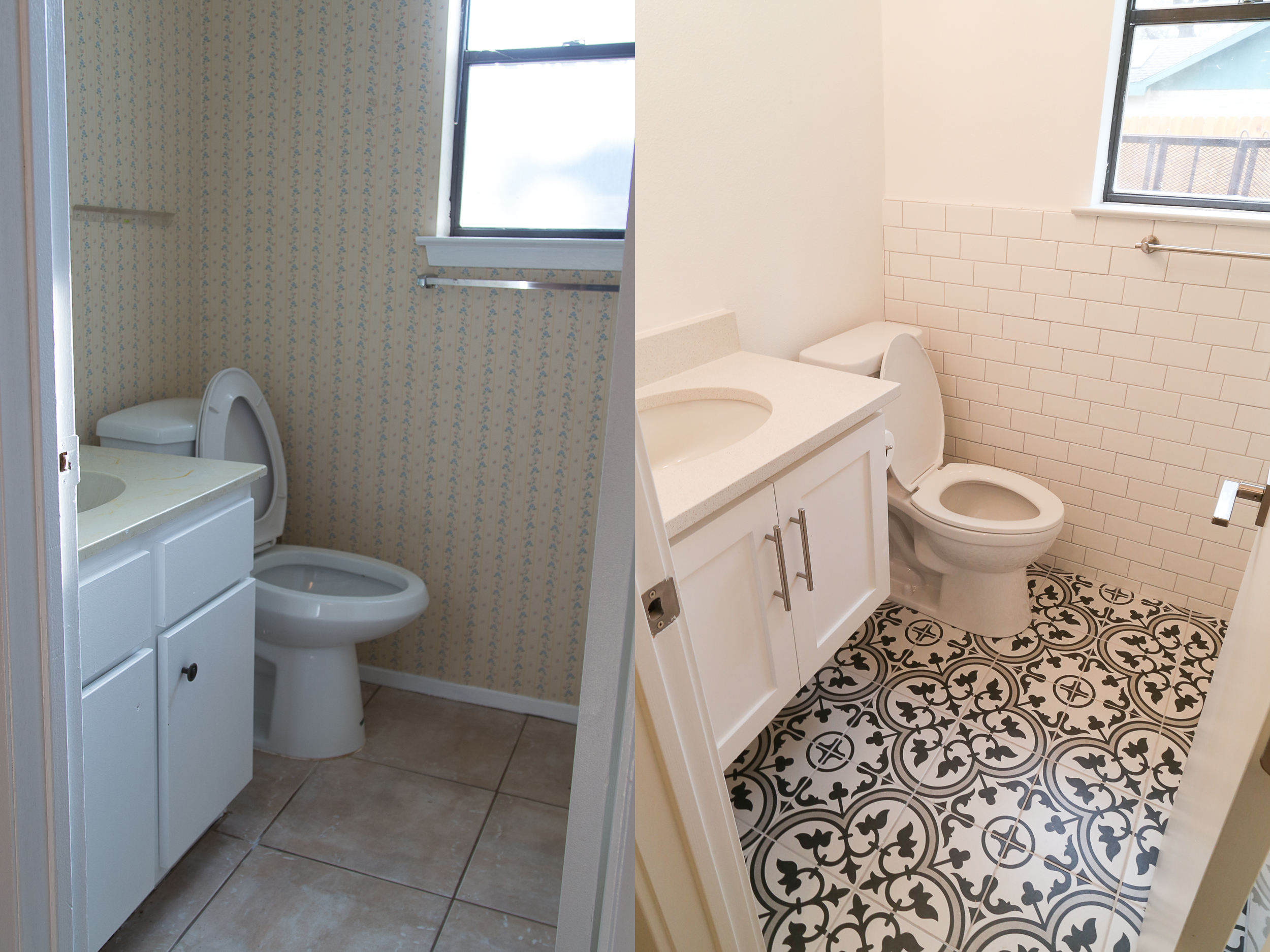 I had my eye on decorative tile since before we even bought a house. I just think it is so unique and brings in so much character! This tile paired with the subway wall and subway shower is perfect! Now, we just have to add decoration, shelves, and a mirror!