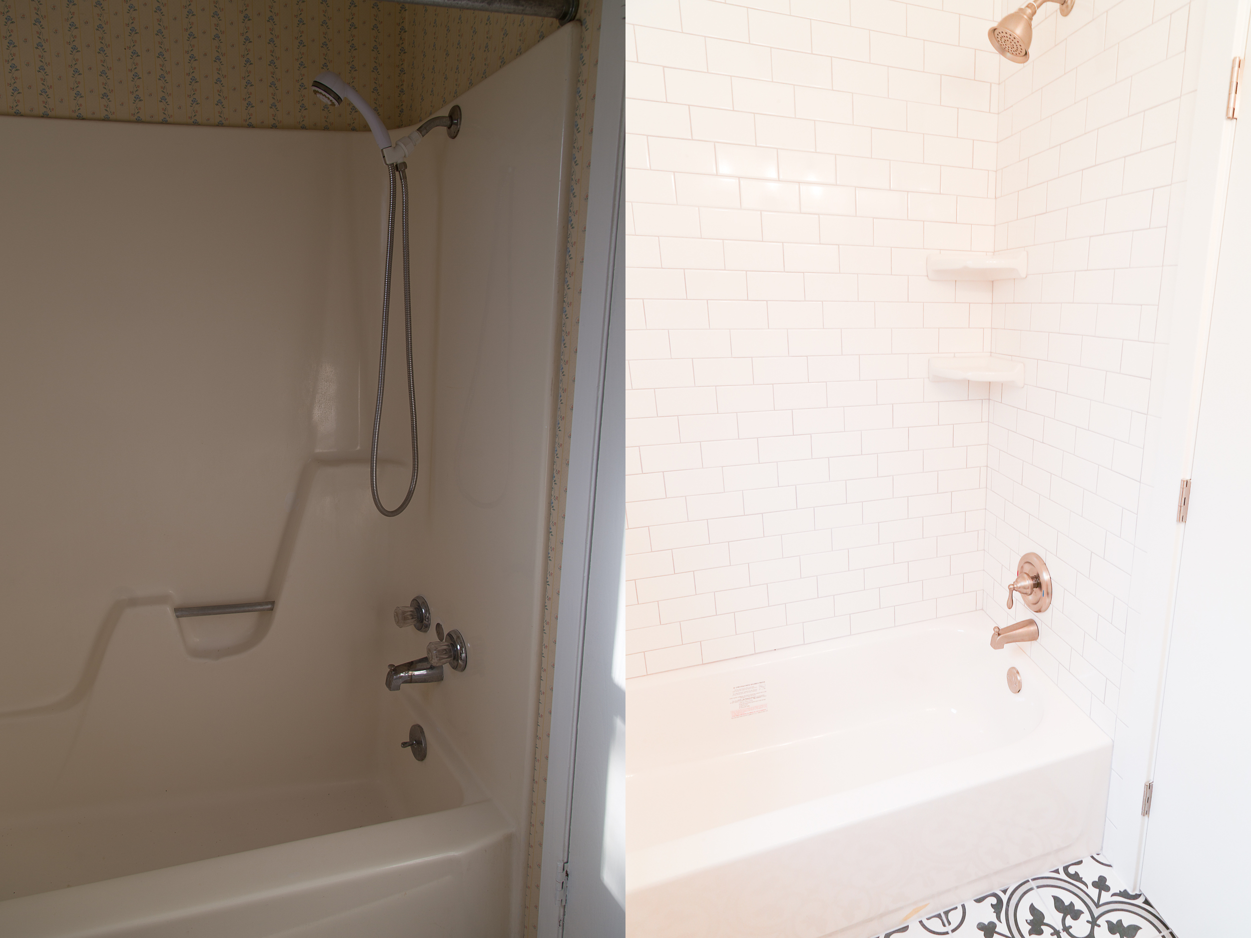 We added a new tub and used subway tile with a silver/grey grout for this guest bathroom!