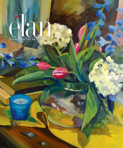 "Cover of Elan Magazine, April 2016 featuring a close up of the painting ""Symphony in Yellow and Blue"" by Laura Barringer, 2015"