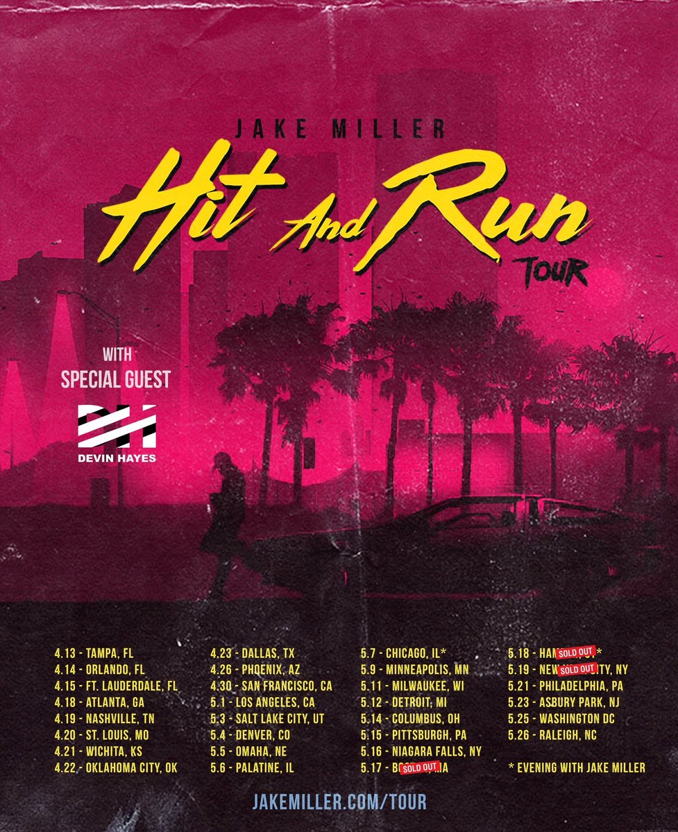 Promo Poster for Jake Miller's upcoming tour, starting in April - taken from twitter
