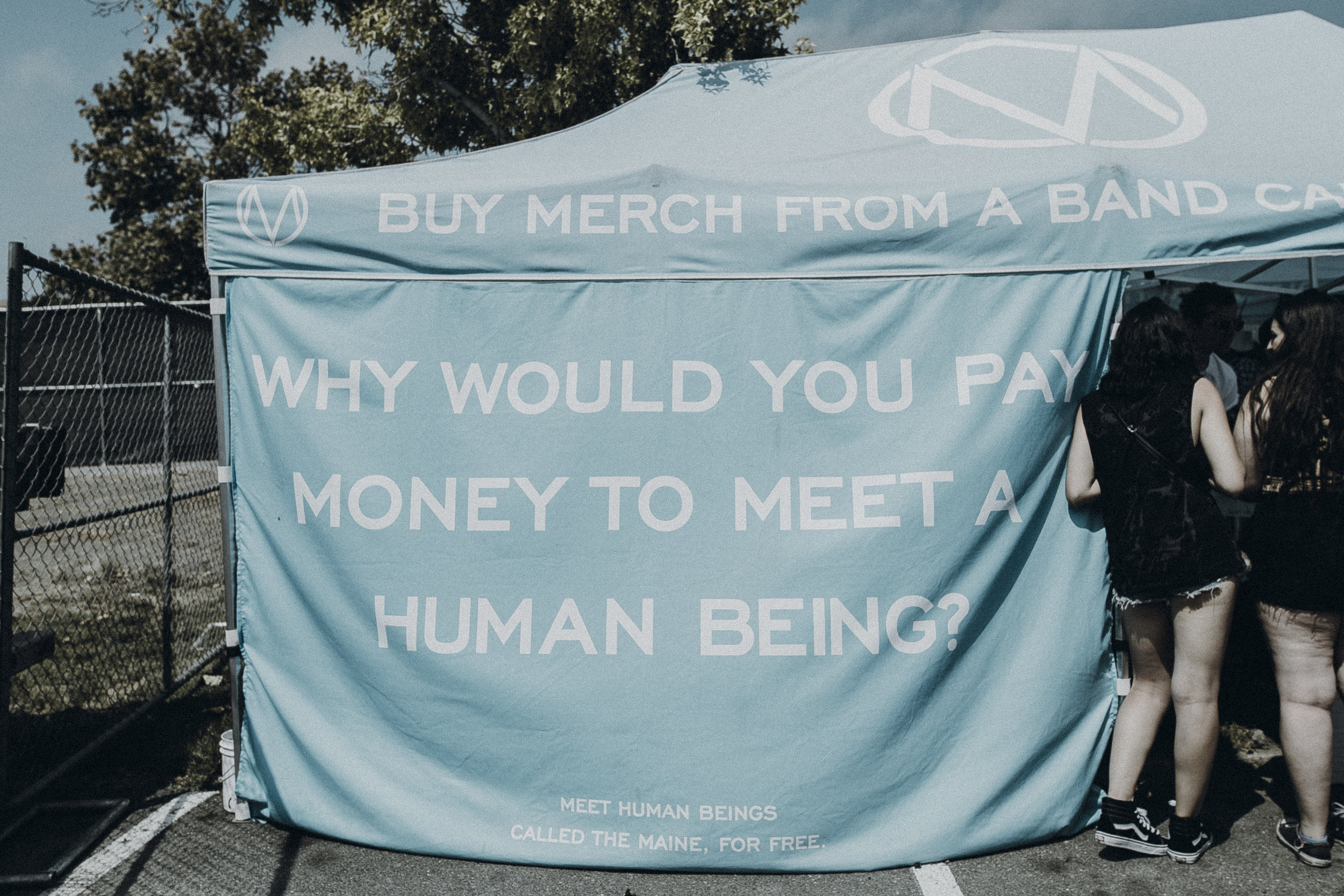 The Maine's tent, Warped 2016. Fans could easily meet members like John or Garrett here, selling merch.