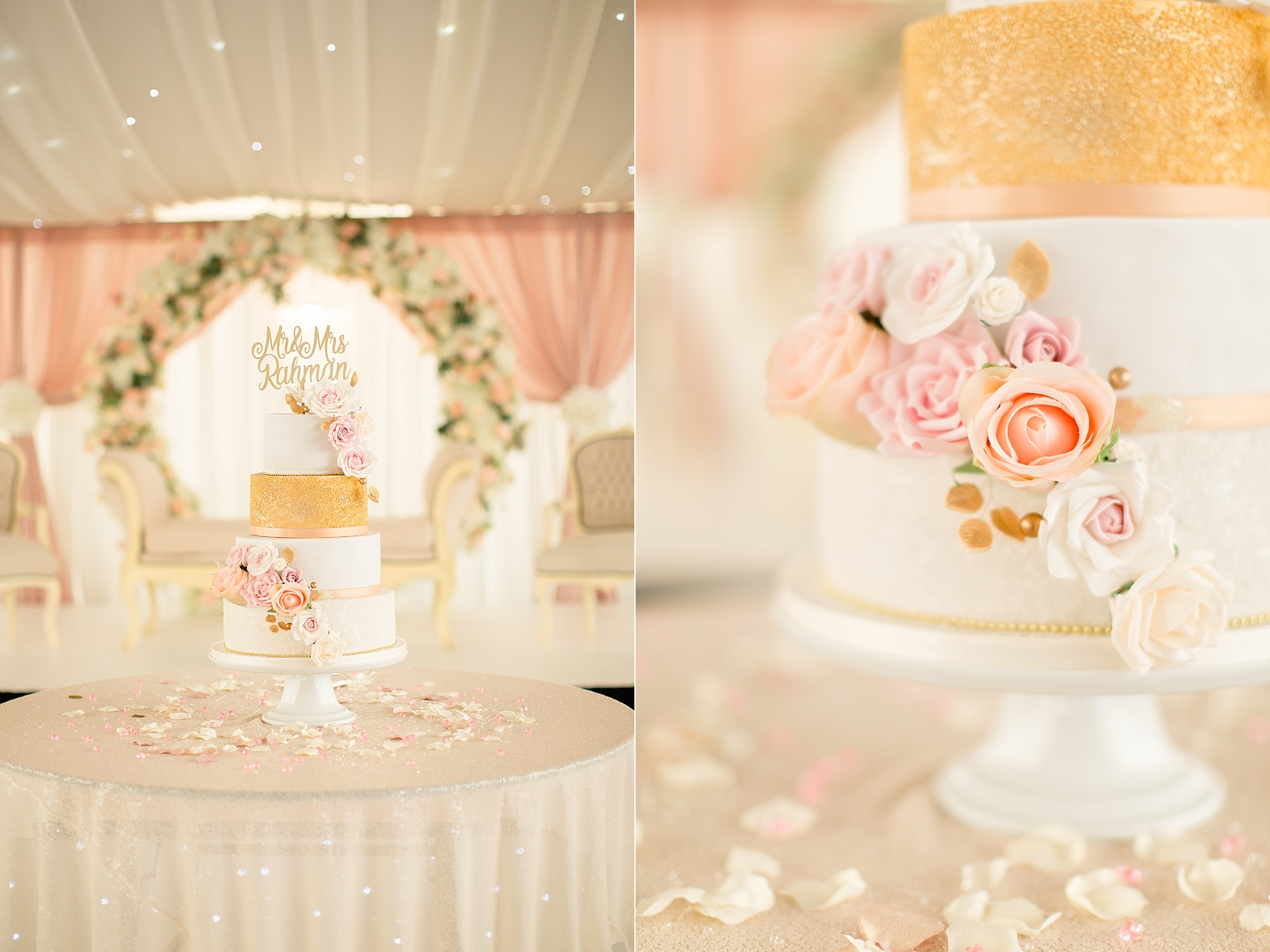 Wedding Cake Details at Hilton Hall, Wolverhampton