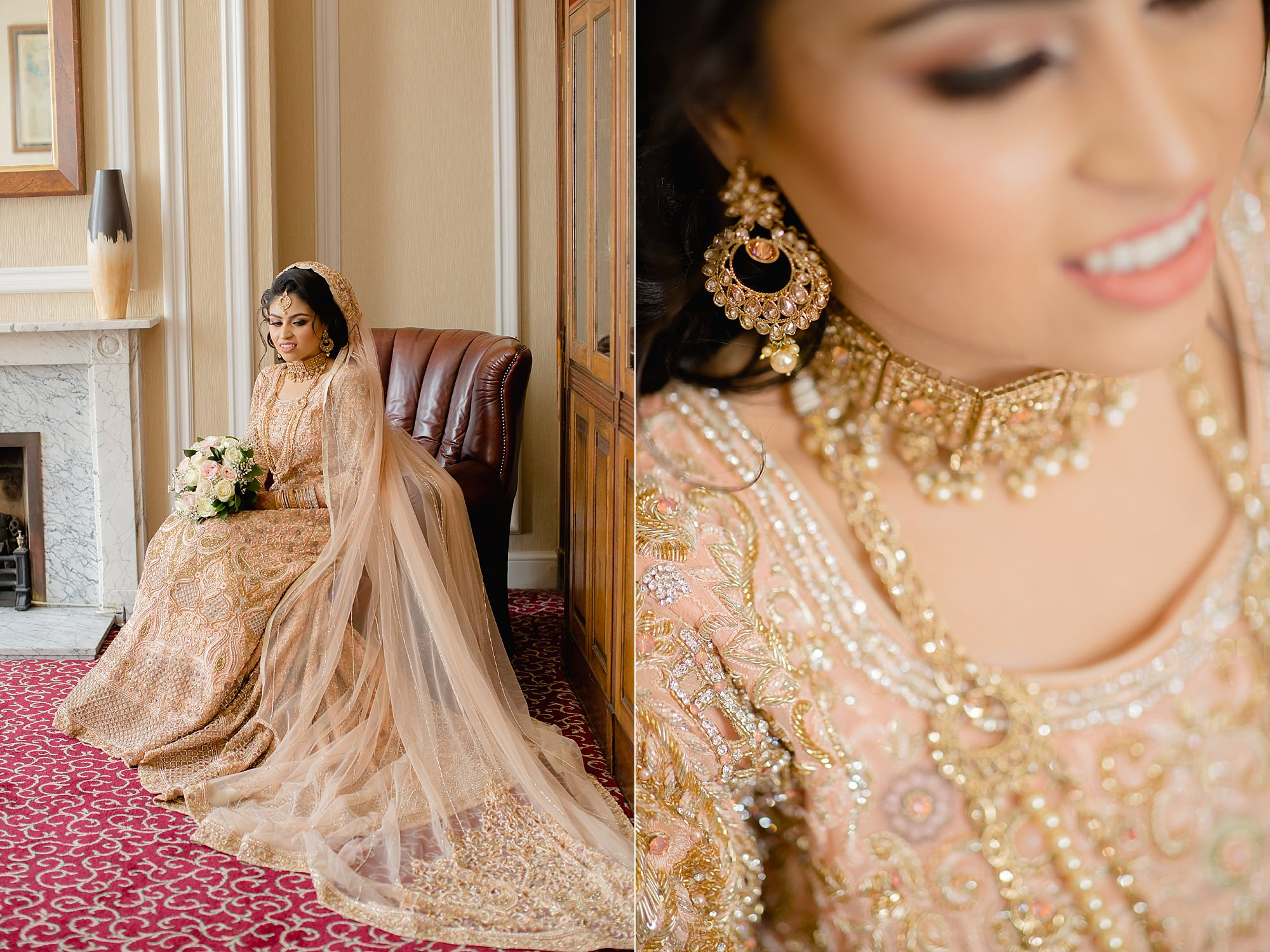 Asian Bride portraits at Hilton Hall, Wolverhampton