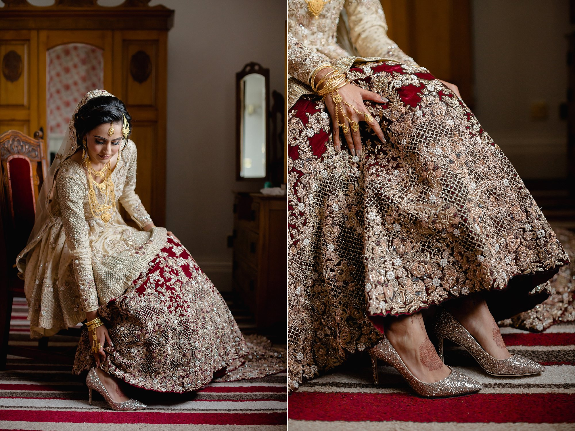 Pakistani bride getting ready Jimmy Choo at Wroxhall Abbey Coventry