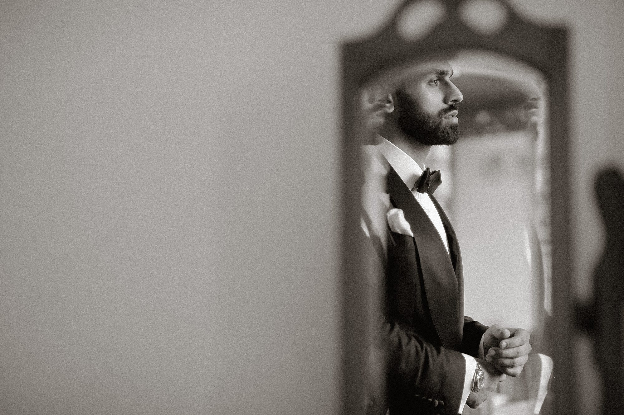 Pakistani groom getting ready at Wroxhall Abbey Coventry