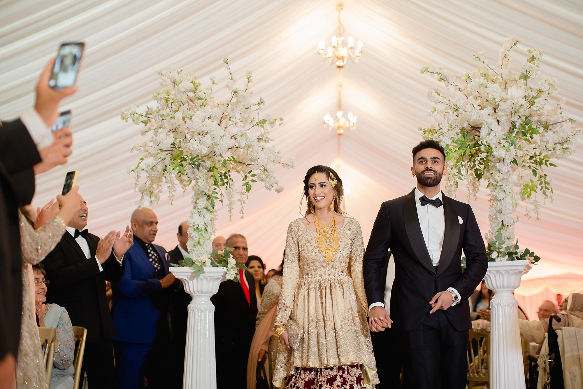 Pakistani couple wedding entrance at Wroxhall Abbey Coventry