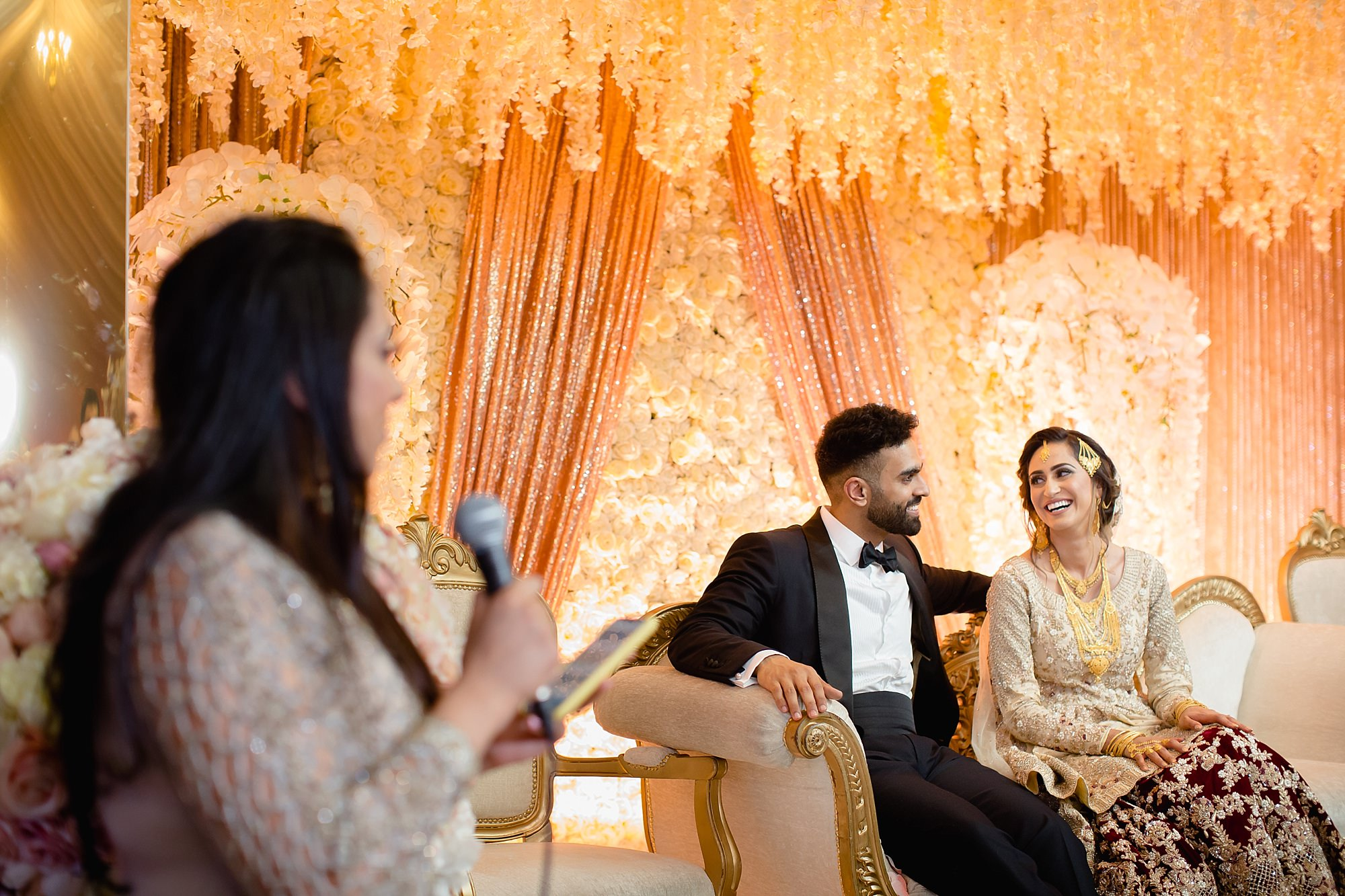 Brides friends speech at pakistani wedding Wroxhall Abbey Coventry