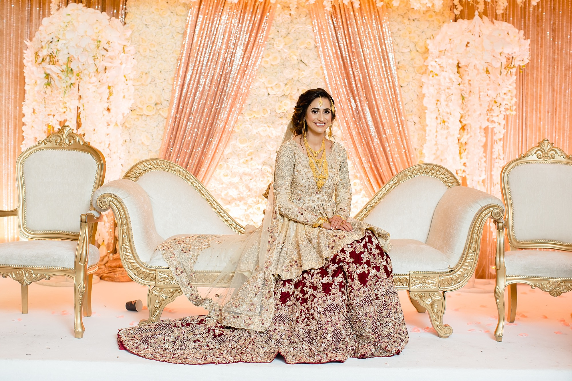 Pakistani bride at Walima Wroxhall Abbey Coventry