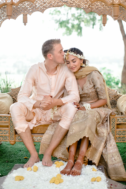 Diipa and Oleg on their Wedding Haldi Ceremony, Fateh Garh, Udaipur India