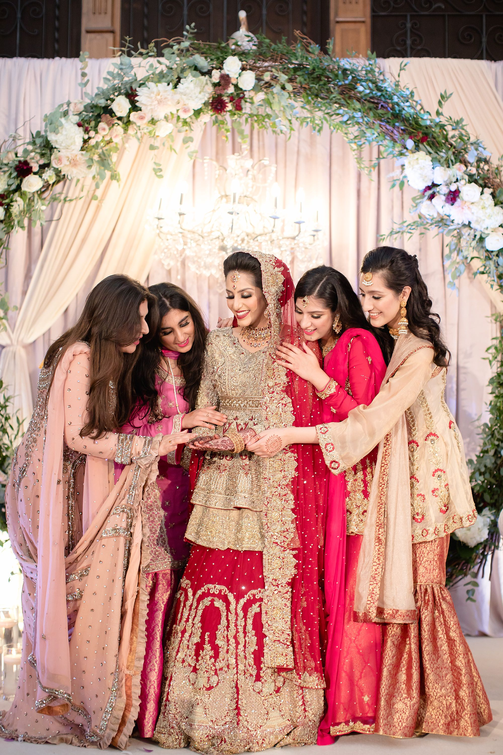 Pakistani bride and friends at wedding at Tatton Park Cheshire