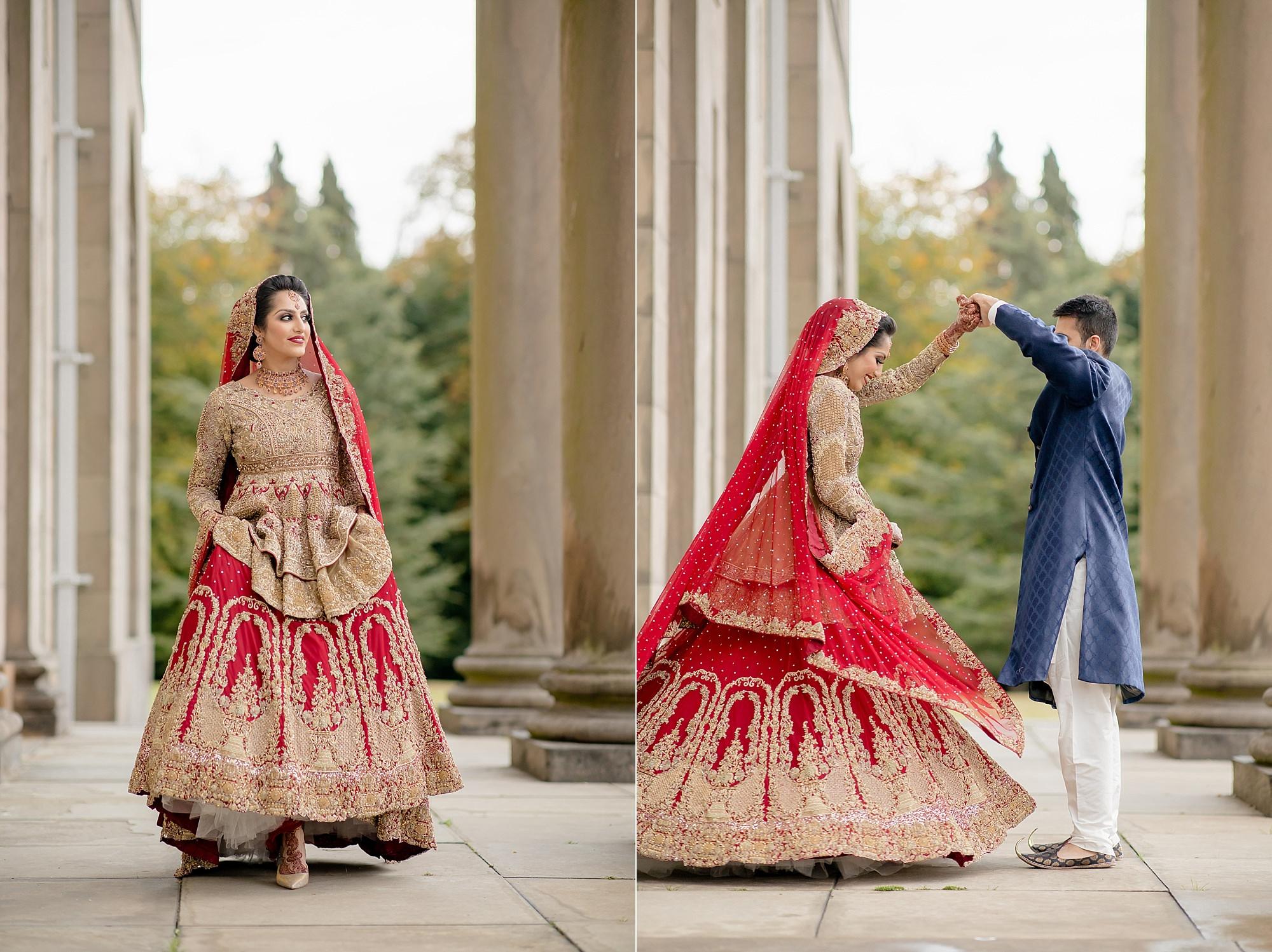 Pakistani bride and groom portraits at Tatton Park Cheshire