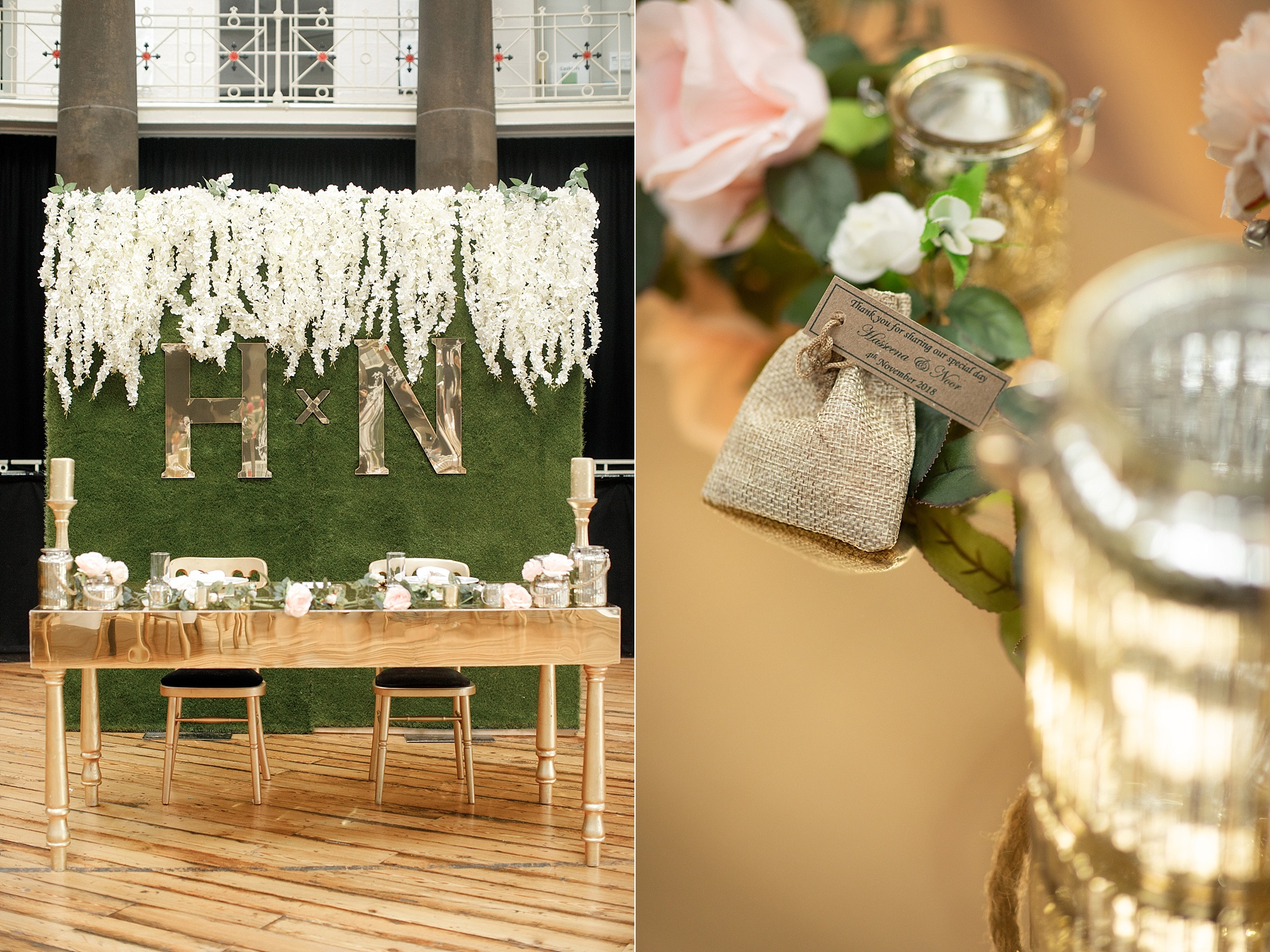 Wedding decor details photography at Devonshire Dome