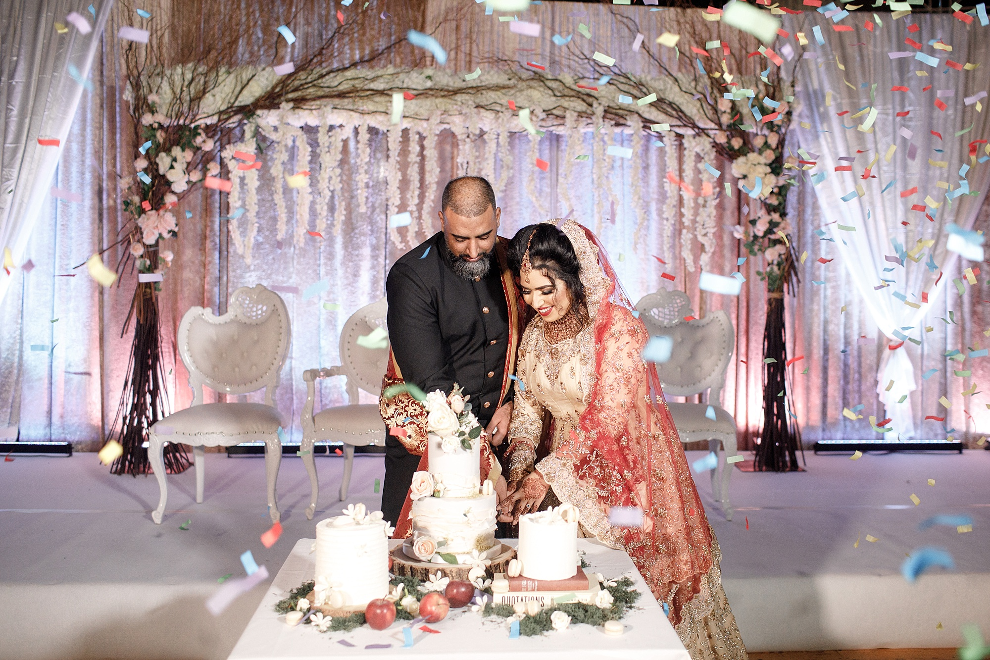 Pakistani Couple cut Cake Photography Devonshire Dome