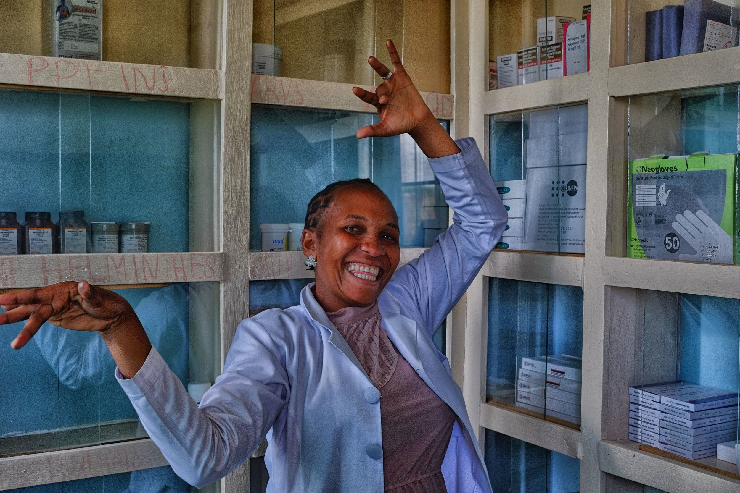 Our dispensary doctor is delighted with her new medical supply room.