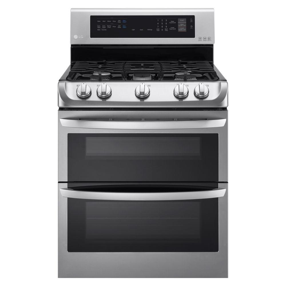 LG Double oven gas range, stainless steel