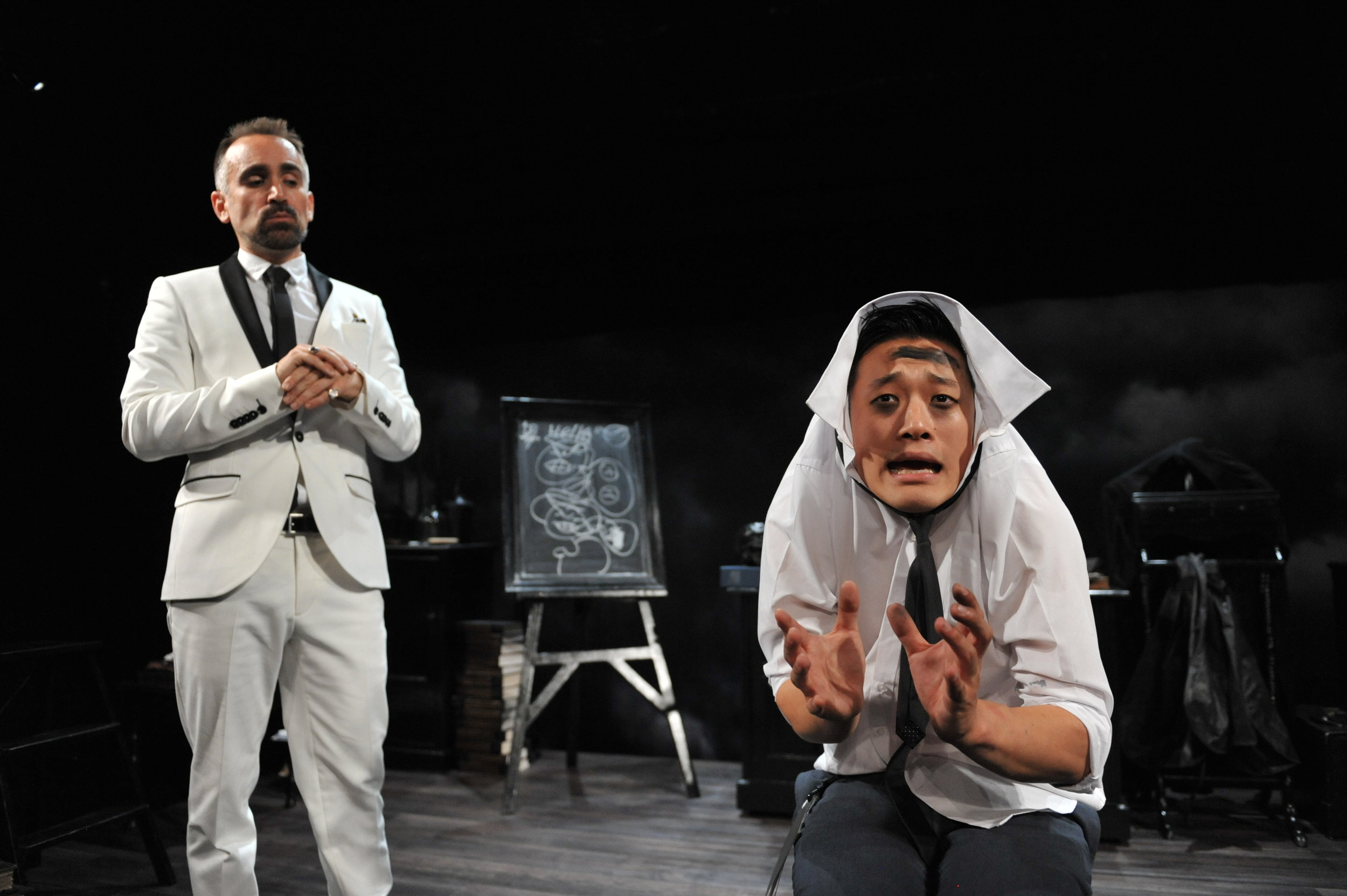 Yannick Lawry (left)  as  Screwtape and  George Zhao  (right)  as his henchman,  Toadpipe