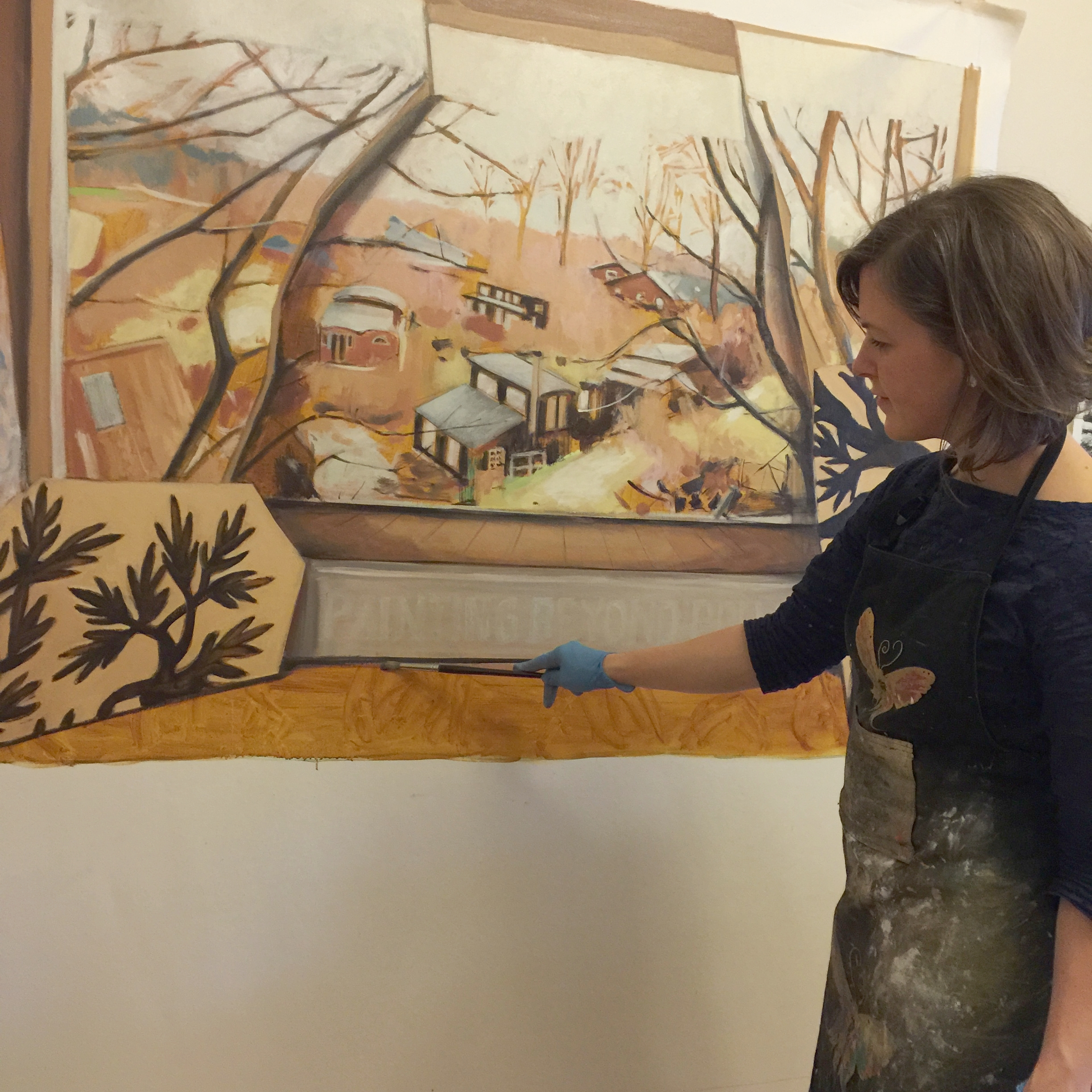Arist and ADM Creative Fellow, Jo Chew, at work in her studio