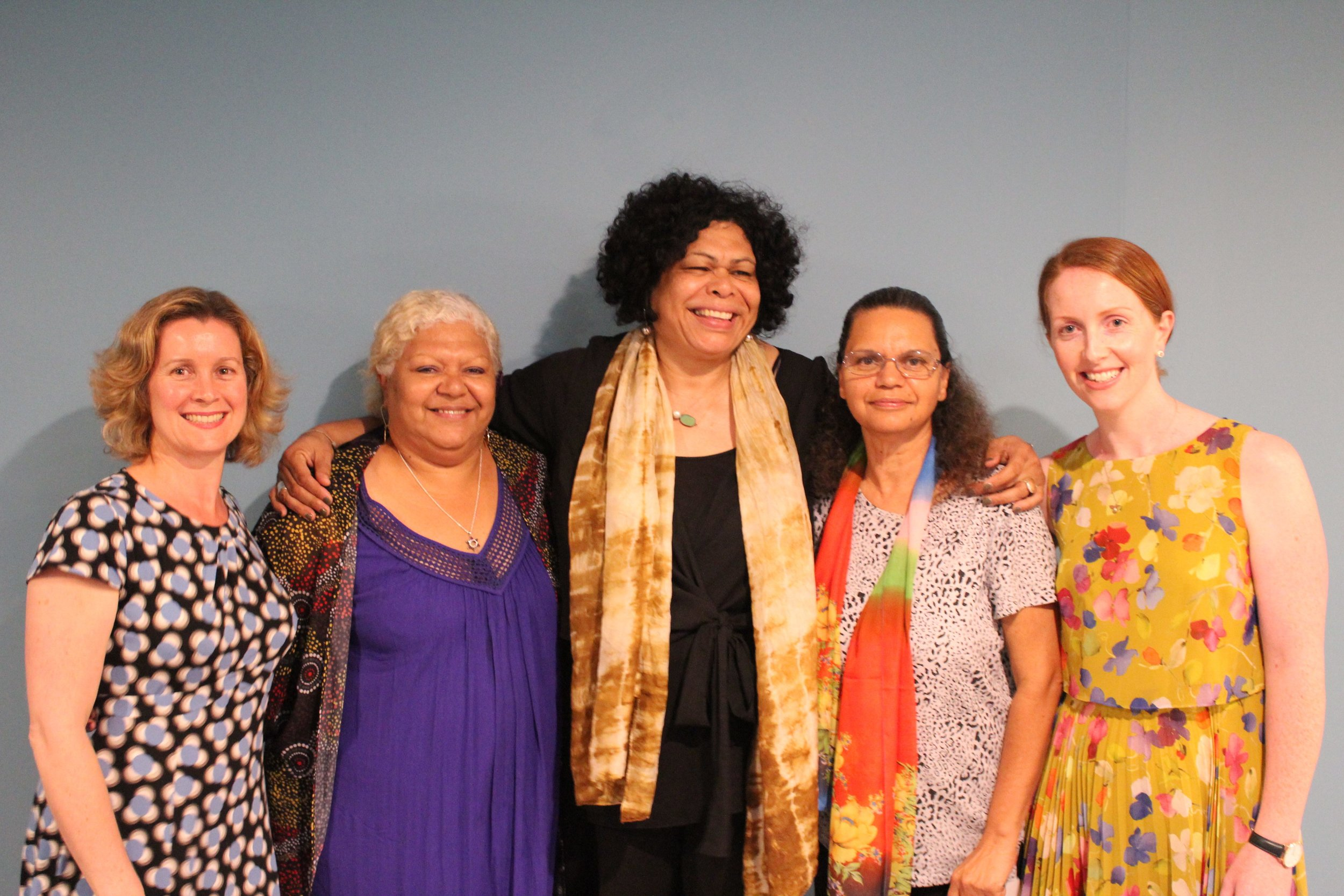 Left to right: Margo Leach (ADM's Director of Mercy & Justice Ministries), Sharon Minniecon (Scarred Tree Indigenous Ministries, Glebe), Andrea Mason (Chief Executive Officer of Ngaanyatjarrra Pitjantjatjara Yankunytjatjara Women's Council), Kayleen Manton (Mt Druitt Indigenous Church) and Kate Harrison Brennan (ADM CEO)
