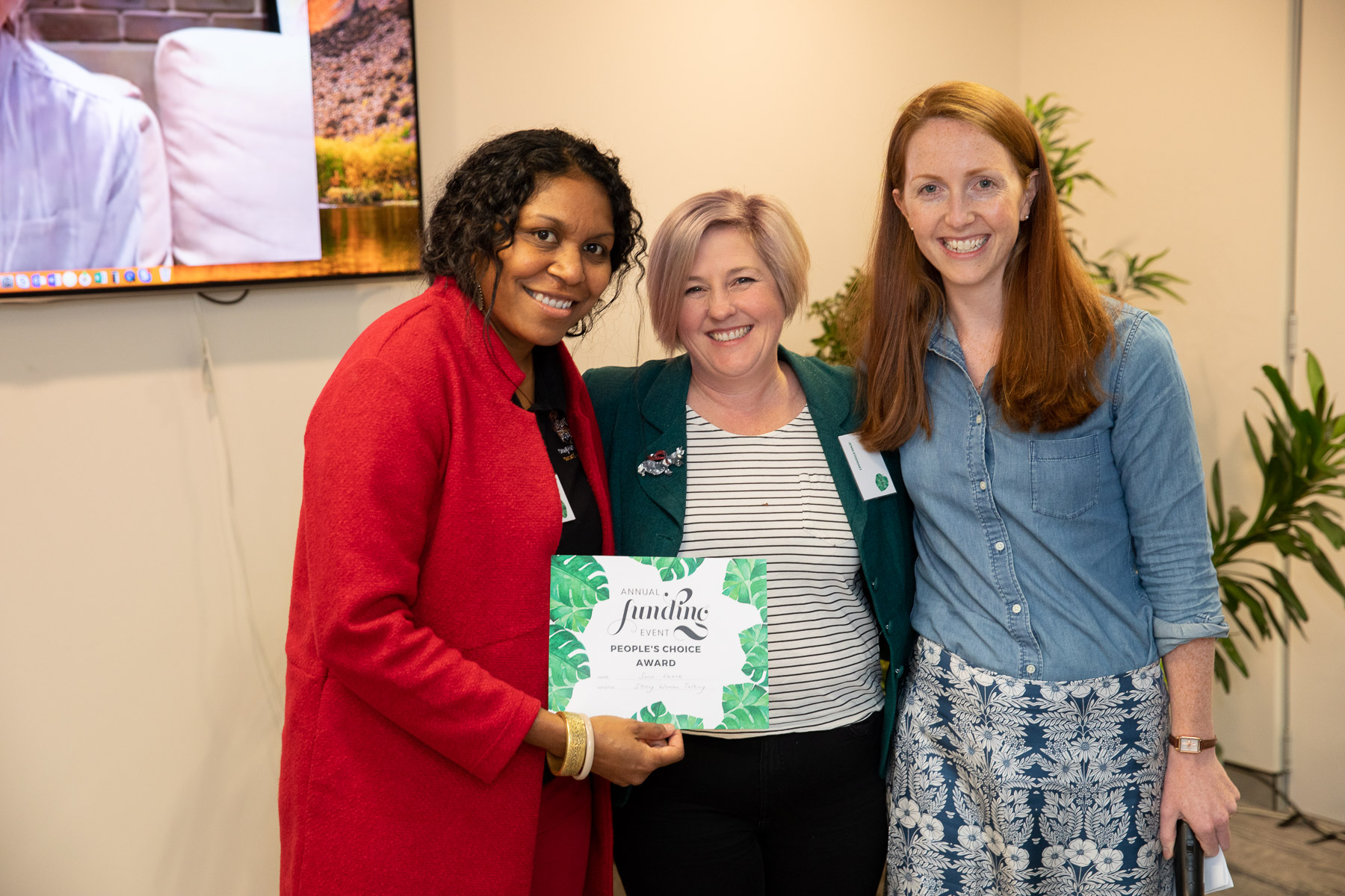 Sono (left), is presented with her award by CEO chair of board, Rev. Jenni Stoddart (centre), and ADM CEO, Dr Kate Harrison Brennan (right).