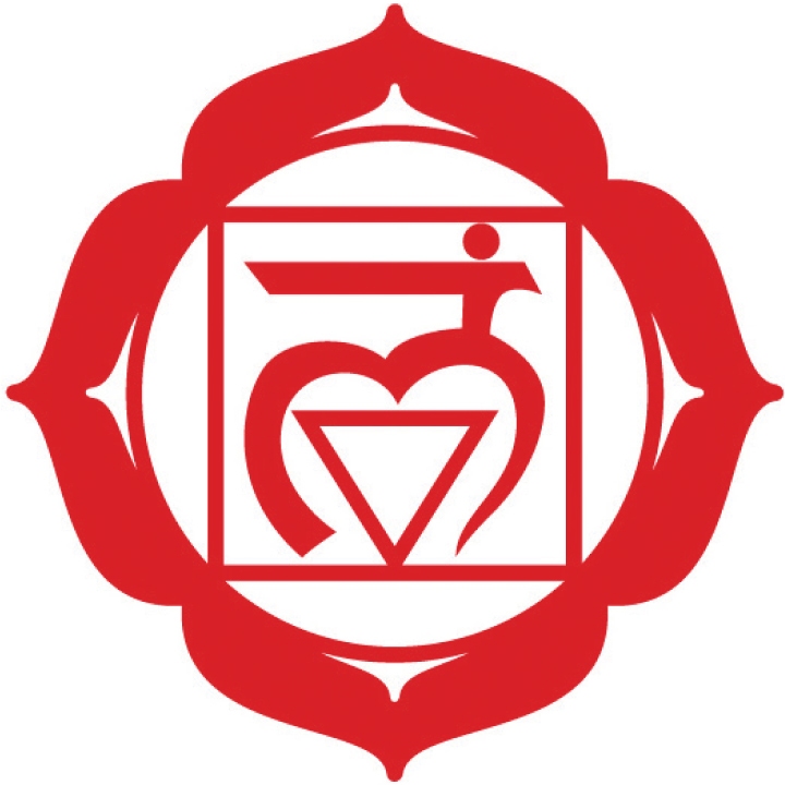 Muladhara Chakra (The Root Chakra)   The Root/1st Chakra (Red)is located below the base of your spine and centered between your legs. It represents survival, security and being grounded in this reality.  Element - Earth  Location - Soles of the feet to the base of the spine  Color - Red  Organs - Bowels, bladder, urethra, elimination  Related - Survival instincts, basic needs, your tribe  Over active - Stubborn, stuck, too trusting  Under active - Flighty, unable to finish anything,  unable to trust  Demon - Fear  Right - To Be Here