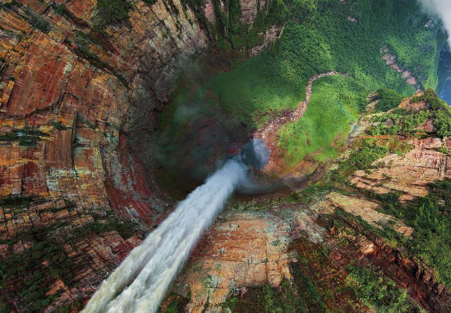 Churun-meru (Dragon) Waterfall, Venezuela Bird's-Eye Shot