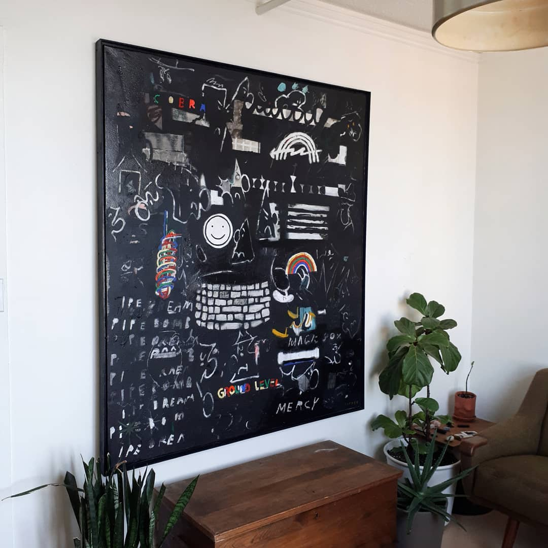 """Black Painting"" 2018. Acrylic, oils, oil stick, sawdust, graphite, wax crayon on canvas. 60"" x 62""."