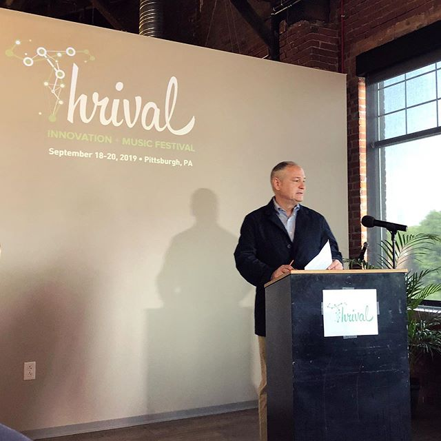 Barrie Athol (CEO, @ascenderpgh) announces the details surrounding Thrival Festival 2019 along with Sean Luther (Executive Director, @pittsburgh.id). This year's event will take place on Sept. 18th-20th. Full details at ThrivalFestival.com