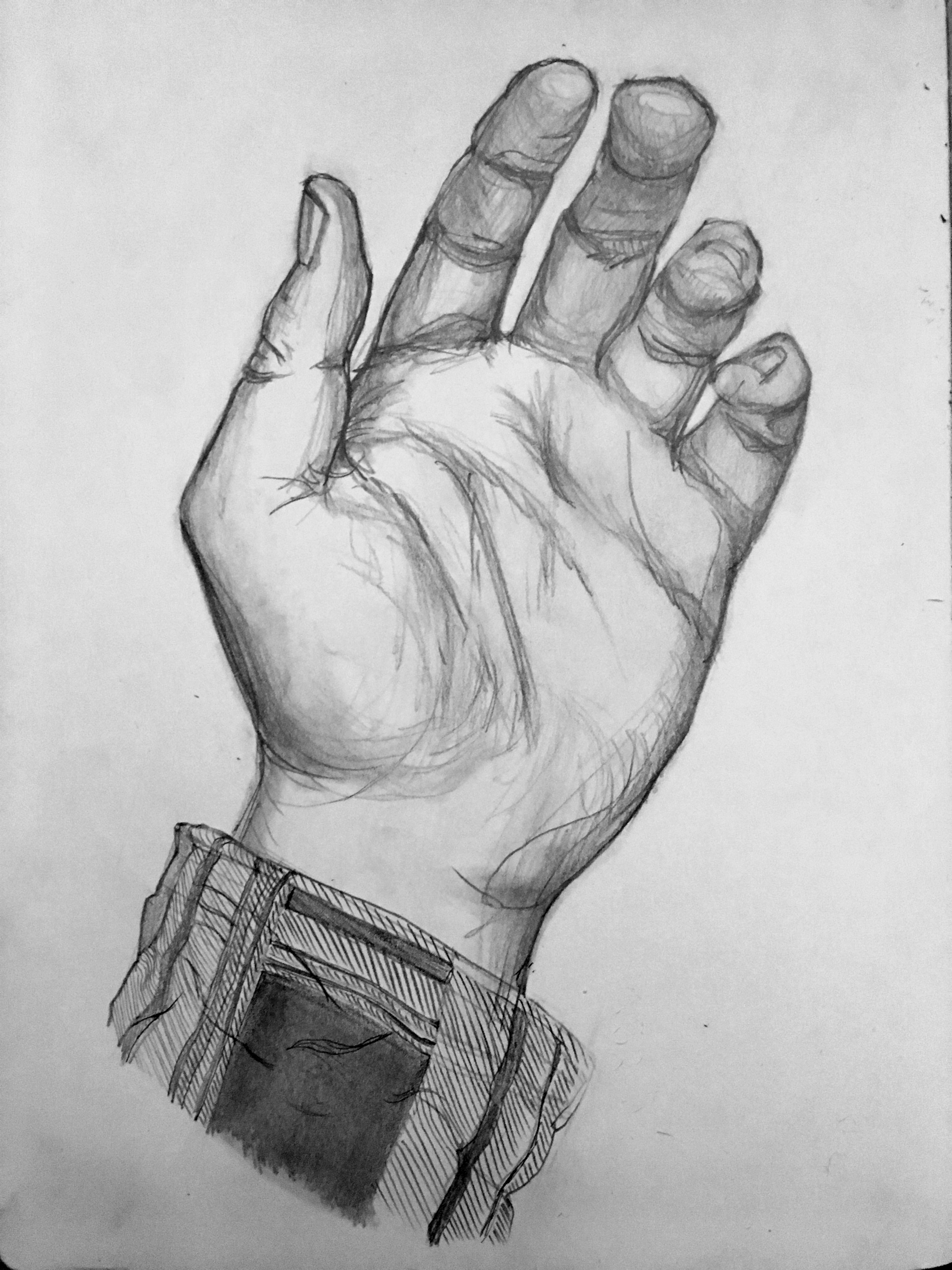 Graphite drawing of my left hand