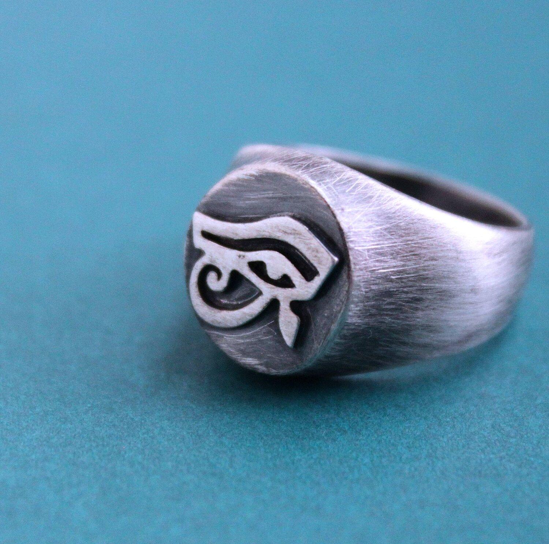 Ring Seal Om Eye of Horus Eye Infinity Silver Sterling 925 Silver Ring Sterling