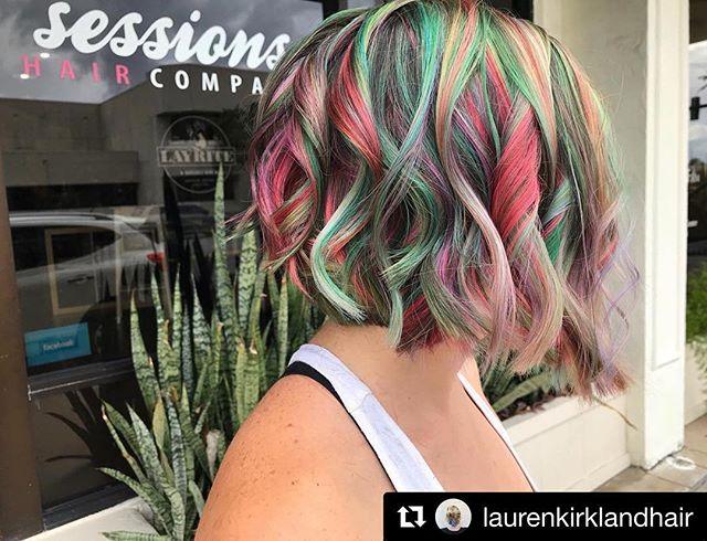 So magical, by @laurenkirklandhair 🍭🦄 schedule online at www.sessionshaircompany.com . . . . #sessionshaircompany #laurenkirklandhair #btcpics #behindthechair #americansalon #modernsalon #hairbrained  #pulpriot #pulriotblondeaf #rainbowhair #unicornhair #daytonabeachhairdresser #daytonabeachhair #portorangehair #saloncentric