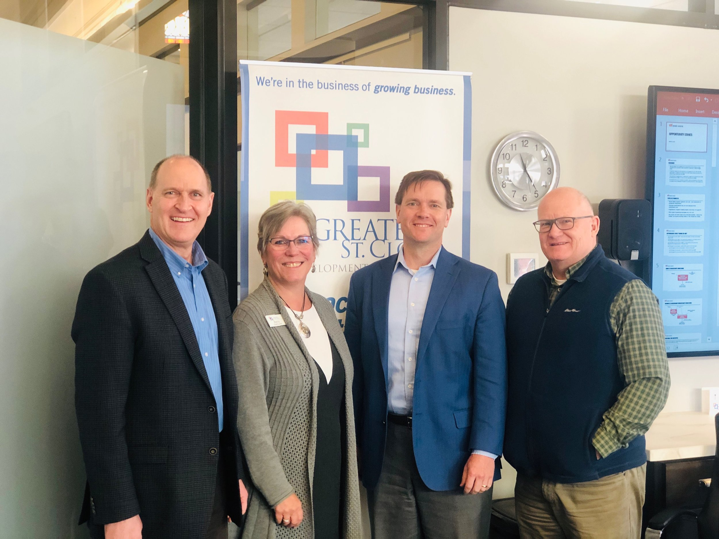 (Pictured left to right: Steve Schueller, (Schlenner Wenner & Co.), Patti Gartland, (GSDC), Norm Jones (Winthrop & Weinstine) and Greg Hohlen (Minnwest Bank).