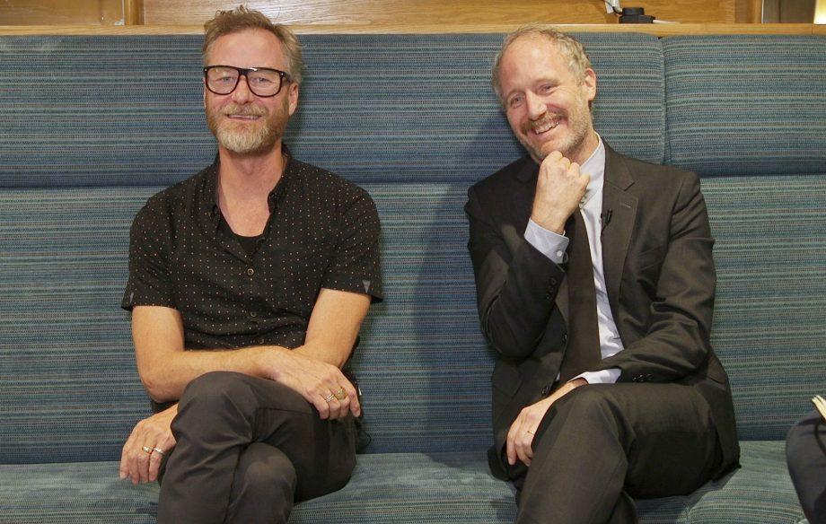 Berninger (left), Mike Mills (right).