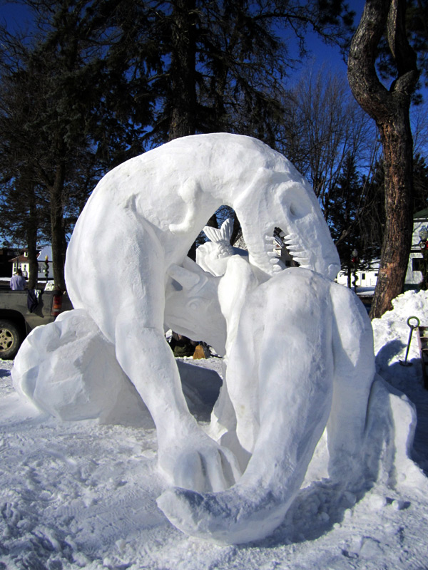 Dino Fight!   10'x12'x12'  Snow Sculpture  Ely Winter Festival  2012