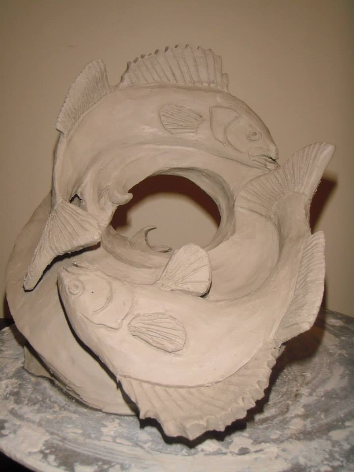 Clay model for  Mobius Fish        8'x8'x8'  Snow Sculpture  St. Paul Winter Carnival   2014