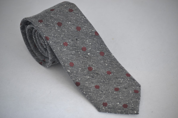 Menzwear Grey and Red dotted Tie