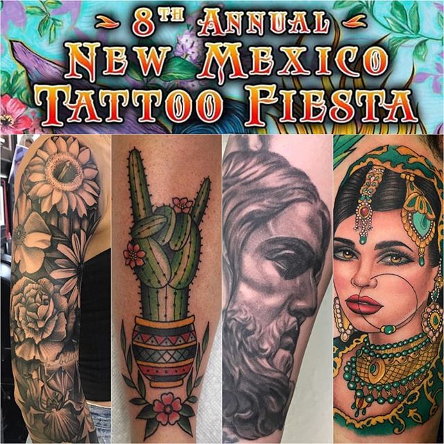 @tattootony602 , @mariogtattoos , @tatt2_nick , and @daniellimon9 will be working this years @newmexicotattoofiesta ! To book an appointment, please contact them directly.